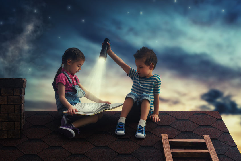 54722901_s children reading book on roof